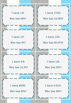 Converting % to fractions (including decimals) : I Have Who Has math game