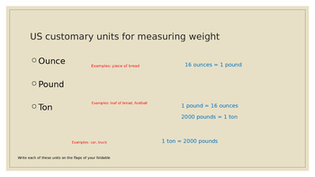 Converting units of Customary Weight PPT