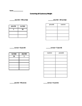 Converting units of Customary Weight Worksheet