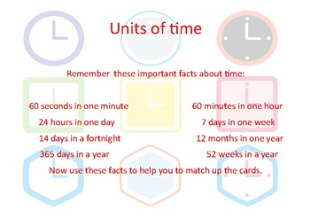 Converting units of time - matching cards game