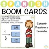 Convertir Fracciones a Decimales - Spanish Boom Cards™