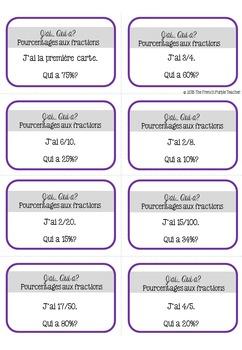 Convertir les pourcentages aux fractions - un jeu de math
