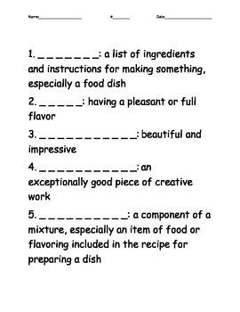 Cook-A-Doodle-Doo Vocabulary