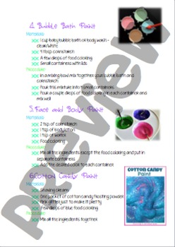 Cook Book! Recipes/Sensory Play Activities