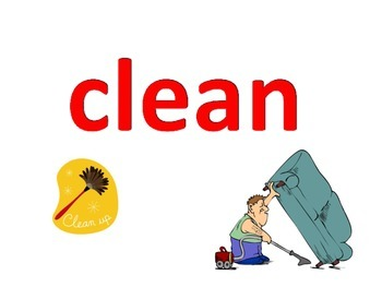 Cook, Clean, and Eat Vocabulary Flash Cards