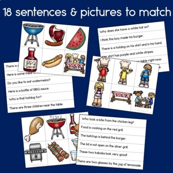 Cook-Out Sentence Picture Match Reading Center
