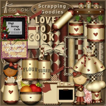 Cook in the Kitchen scrapbook transparent clip art graphic