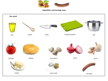 Cookery Lesson editable ingredient and cooking instruction sheet