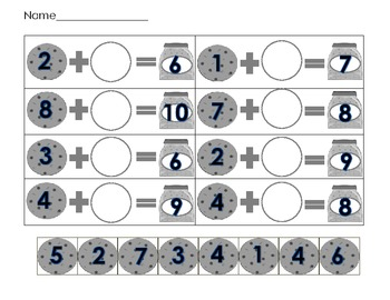 Cookie Addition- What's the Missing Cookie? Math Center Activity