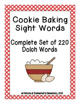 Cookie Baking Sight Words! Complete Set of all 5 Dolch Lists