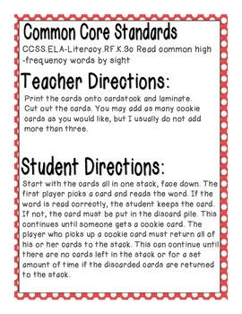 Cookie Baking Sight Words! Fry List 1