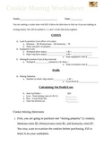 Cookie Coal Mining Worksheet and Directions