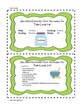 Cookie Conundrum.  Common Core fraction and algebra word problems using a recipe