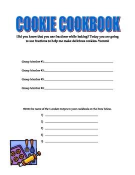 Cookie Cookbook Fraction Activity