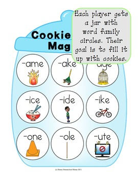 Cookie Craze Magic E - Word Family Game for Word Families with a Silent E