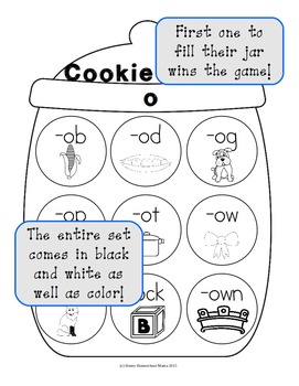 Cookie Craze O - Word Family Game for Word Families with an O Vowel