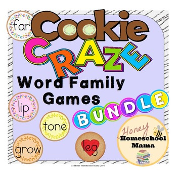 Cookie Craze Word Family Games Bundle - 8 Games Total!