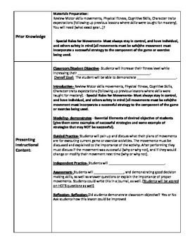 Cookie Cutter Lesson Plan for Physical Education