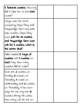 Cookie Day Mixed Word Problem Worksheet