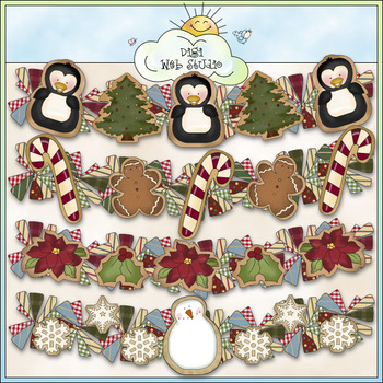 Cookie Garlands Clip Art - Christmas Clip Art - CU Colored Clip Art