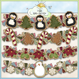 Cookie Garlands Clip Art - Christmas Clip Art - CU Colored