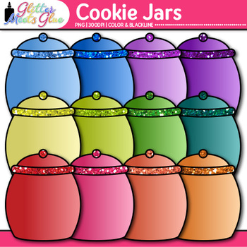 Cookie Jar Clip Art | Rainbow Glitter Containers for Counting, Sorting in Math