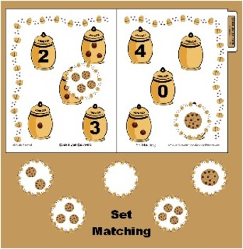 Cookie Jar Counting - Set Matching 0-4 - Great for Preschool and Kindergarten