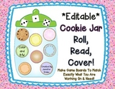 Cookie Jar 'Roll, Read, Cover'  *EDITABLE* Game Boards & More;  Color & B&W