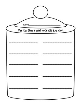 Cookie Jar Sort - Real or Nonsense Words
