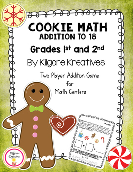 Cookie Math  - Addition to 18 (Two player math game printibles)