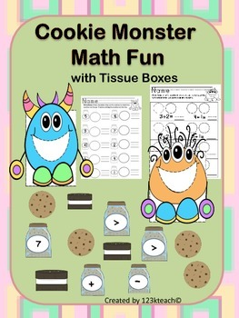 Cookie Monster Math Fun Using Tissue Boxes