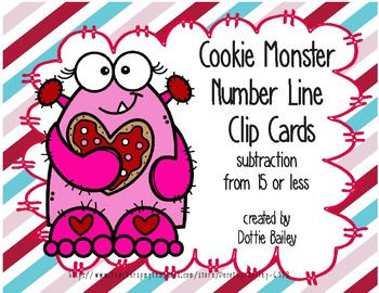 Cookie Monster Number Line Subtraction Clip Cards 15 or less