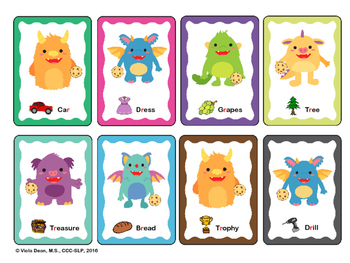 Cookie Monsters -- Articulation card game to practice /r/ sound - Speech Therapy