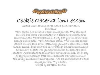 Cookie Observation Lesson and Handout