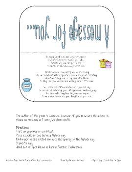 Cookie Poem Bag Topper