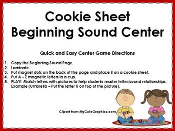 Cookie Sheet Beginning Sound Match