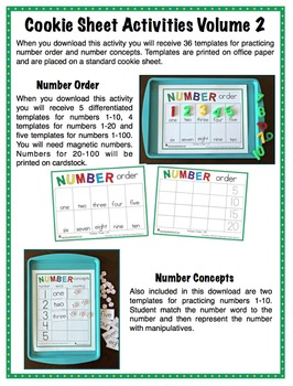 Number Order, Number Concepts - Cookie Sheet Activities Volume 2