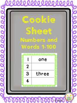 Cookie Sheet Numbers and Number Words 1-100