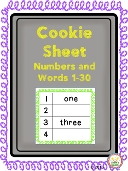 Cookie Sheet Numbers and Number Words 1-30