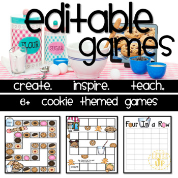 Cookie Themed Editable Game Boards