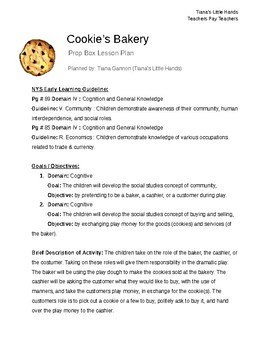 Cookie's Bakery - Lesson Plans