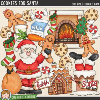 """Santa Clip Art: """"Cookies for Santa"""""""
