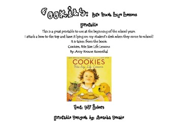 Cookies: Life Lessons Printable for Back to School