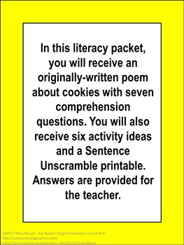 Cookies Poem, Questions, Activities, and Sentence Unscramble Printable