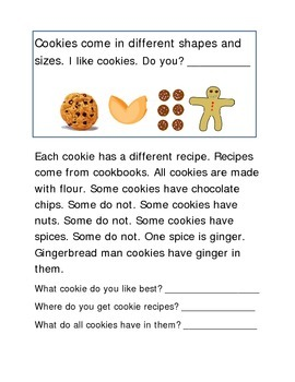 Cookies Recipe Baking Following Direction Comprehension Emergent Reader Literacy