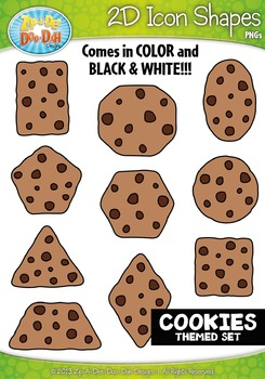 Cookies Themed 2D Icon Shapes Clipart Set — Includes 20 Graphics!