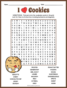 Cookies Word Search Puzzle