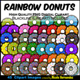 Rainbow Donuts BUNDLE Clip Art for Personal and Commercial Use