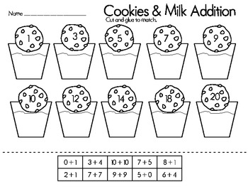 Cookies and Milk Addition Match Up