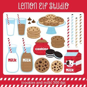 Cookies and Milk-Digital Clipart (LES.CL42A)